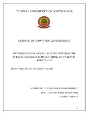 Interpretation of Legislative intent with special reference to Doctrine of pith and Substance (Autos
