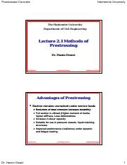 Lecture 2.1 - Methods of Prestressing