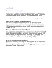 starkeys sls 3130 2 week3 handout 3 contributors to adult learning theory in this exercise, you will analyze the role other disciplines played in the development of adult learning theory.
