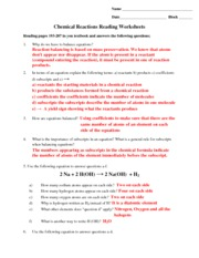 ... of Reactions Worksheet and Key - Balance the following equations and