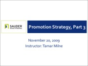 Nov 20 - Promotion Strategy, Part III