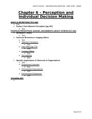 MGMT 3720 - Org Behav - Chapter 6 - Textbook - Perception and Individual Decision Making.doc
