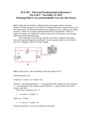 ELE 291 – Electrical Fundamentals Laboratory I Pre-Lab 9
