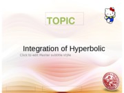 Lesson 9 Integration of Hyperbolic Functions