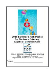 2016 Algebra I Common Core Summer Break Packet aw_klwFINAL.docx