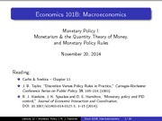 Lecture 22 - Monetary Policy I