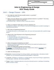 Eoc Study Guidekey Name Key Date Hr Intro To Engineering Design Eoc Study Guide Unit 1 Design Process 19 1 How Might We Create The Best Possible Course Hero