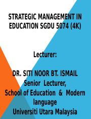 STRATEGIC MANAGEMENT IN EDUCATION Chpter7-8