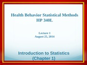 HP340 Lecture 1 - Introduction to Statistics