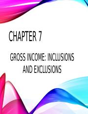 Gross income inclusions and exclusions