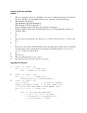 CS 140 Answers to 1-Dimentional_array