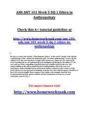 ASH ANT 101 Week 5 DQ 1 Ethics in Anthropology