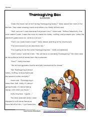 thanksgiving box reading comperhension