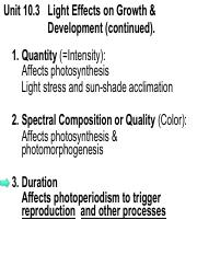 Unit 10.3.  Light Effects on Growth and Development (cont.)