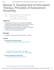 Module 2_ Development of Articulation Therapy, Principles of Assessment, Screening_ Fa14 COMD-3120-L