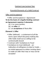 2016 Contract Law Lecture Two.Offer and Acceptance.docx