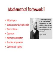 Mathematical framework I