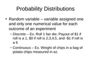 Probability Distributions Ch 4