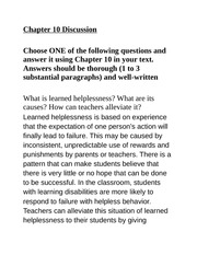 Chapter 10 Discussion Assignment