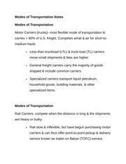 Modes of Transportation Notes