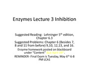 BIOS 452 - Enzymes Lecture 3 spring 2014 animated - Lecture Notes