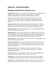 CRIM 481 – Biological and Bisocial Terms