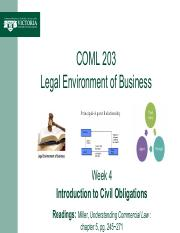 Week 4 -- Intro to Civil Obligations