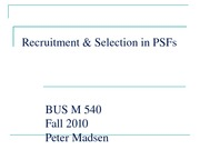 Recruitment & Selection in PSFs