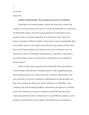 Final Research Paper (Death by Industrialization - The Corruption of America's Food Industry)
