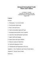 Advanced International Trade Theory and Evidence