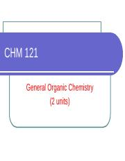 CHM 121 - CARBOXYLIC ACID and DERIVATIVES
