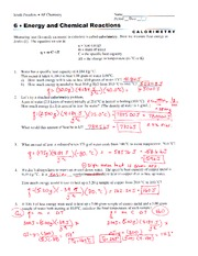 ap chem calorimetry worksheet south pasadena 0 ap chemistry name period date j 6 o energy and. Black Bedroom Furniture Sets. Home Design Ideas