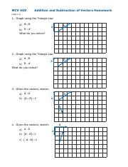 L1.2 Addition and Subtraction of Vectors Worksheet