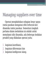 Managing suppliers over time