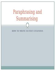 Paraphrasing and Summarising
