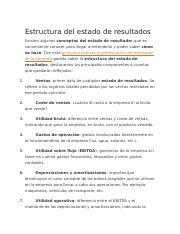 Estructura Del Estado De Resultados Docx Estructura Del