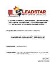 MARKETING MANAGEMENT ASSIGNMENT - LEADSTAR COLLEGE OF