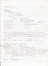 BUS ADM 322 Lecture Notes on Marketing