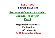 Frequency-Domain analysis Laplace Transform Part I