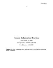 Alcohol Dehydration Reaction