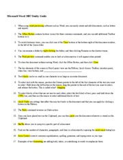 IST 115 MS Word Study Guide Fall 2009 with answers