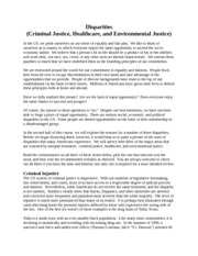 Notes - Week 1 - Disparities (Criminal Justice, Healthcare, and Environmental Justice)