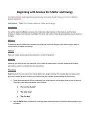 1 06 Lab Report Earth And Space Beginning With Science 06 Matter And Energy Your Report Should Be Neatly Organized And Presents Clear And Concise Course Hero