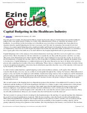 Capital Budgeting in the Healthcare Industry