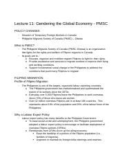 WGST1808 - B Lecture 11 - Gendering the Global Economy