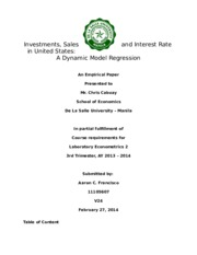 Investments, Sales and Interest Rate in US - A dynamic regression
