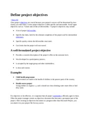 Define project objectives