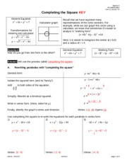 Completing the Square KEY
