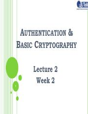 Lecture 2- Authentication and Cryptography
