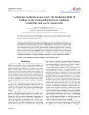Calling for Authentic Leadership_ The Moderator Role of calling on the relationship between authenti